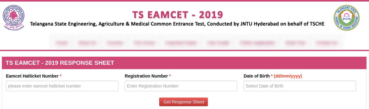 TS EAMCET Response Sheet 2019