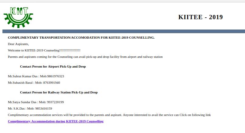 KIITEE Counselling Transportation & Accomodation