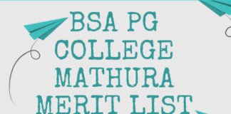 BSA PG College Mathura Merit List