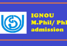 IGNOU M.Phil PhD admission