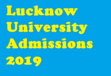 Lucknow University Admissions 2019