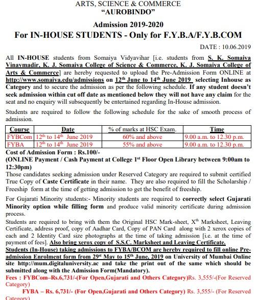 Somaiya Inhouse admission Schedule