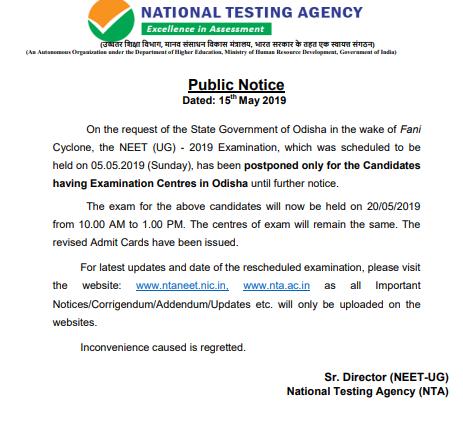 NEET 2019 Admit Card for Odisha State