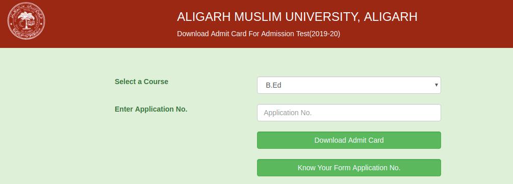 AMU B.Ed. Admit Card 2019