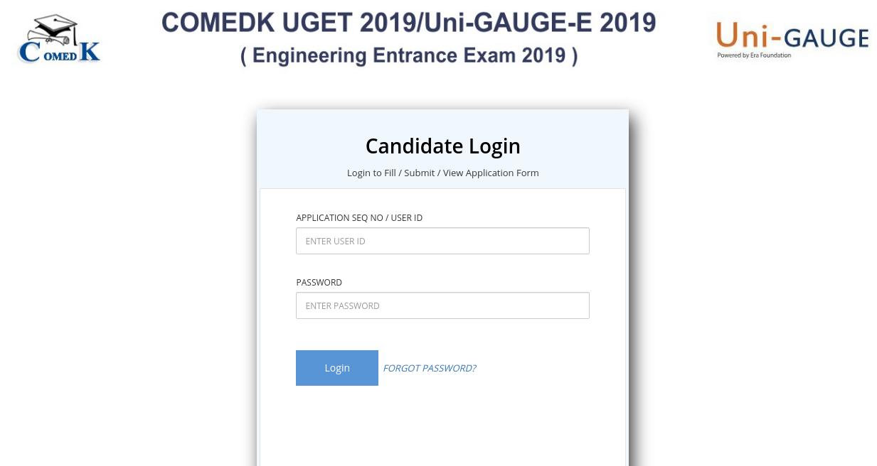 COMEDK 2019 candidate login