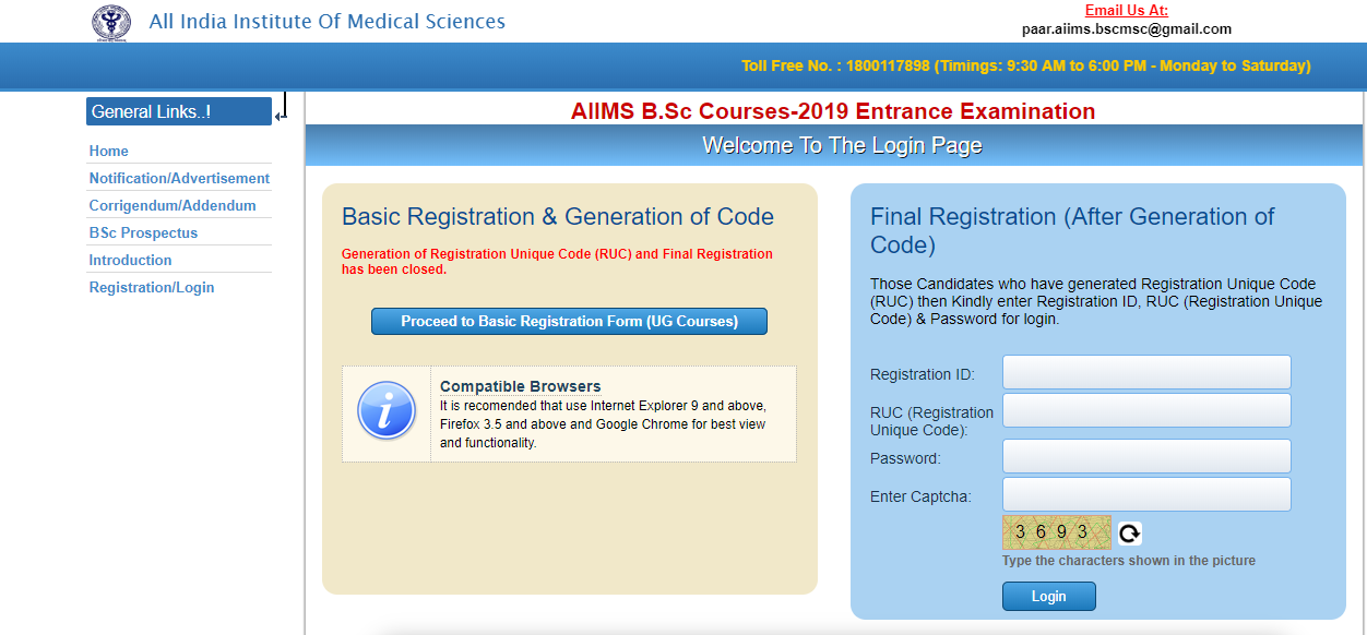 AIIMS BSc Nursing Admit Card 2019
