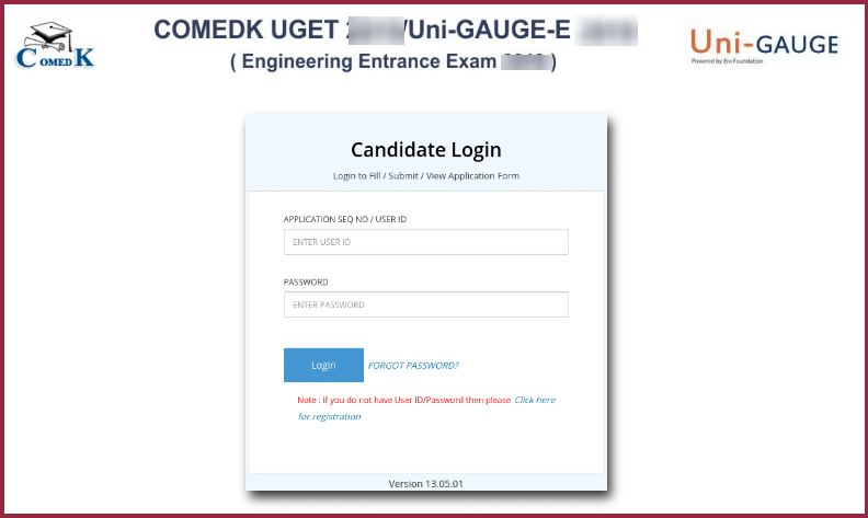 COMEDK Application Login 2020