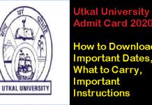 Utkal University Admit Card 2020