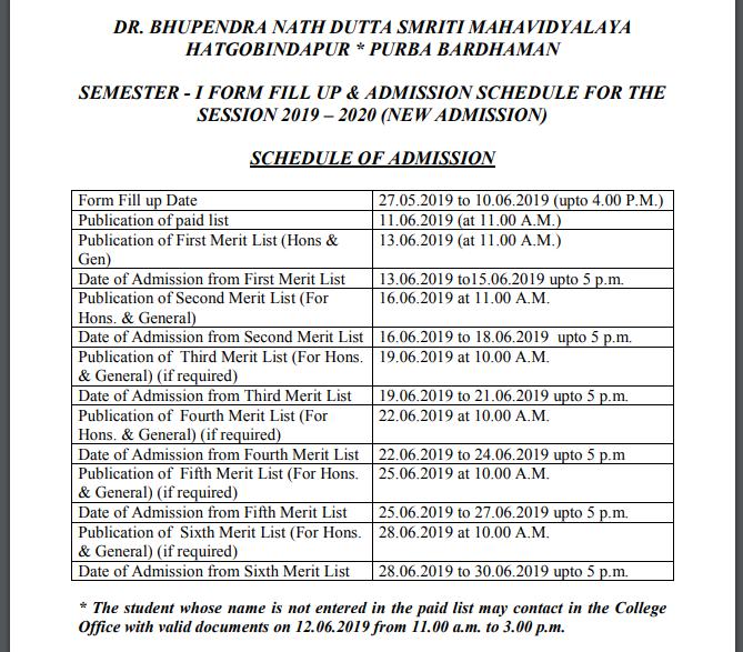 Hatgobindapur schedule 2019