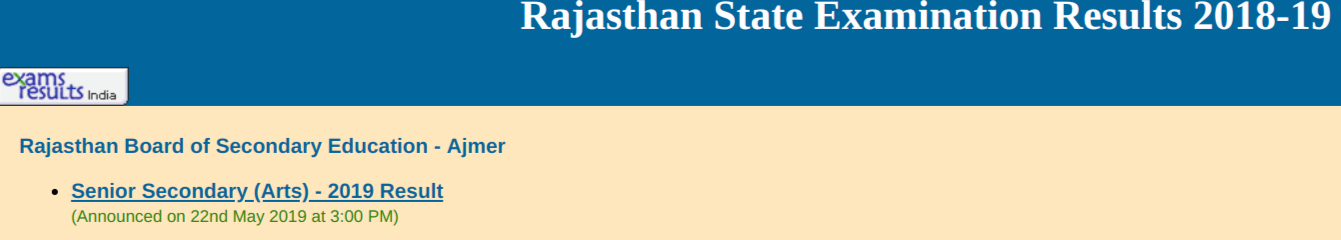 Rajasthan Class 12th Arts Result 2019