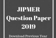JIPMER Question Paper 2019