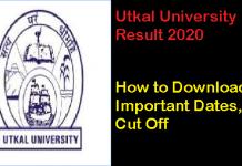Utkal University PG Result 2020
