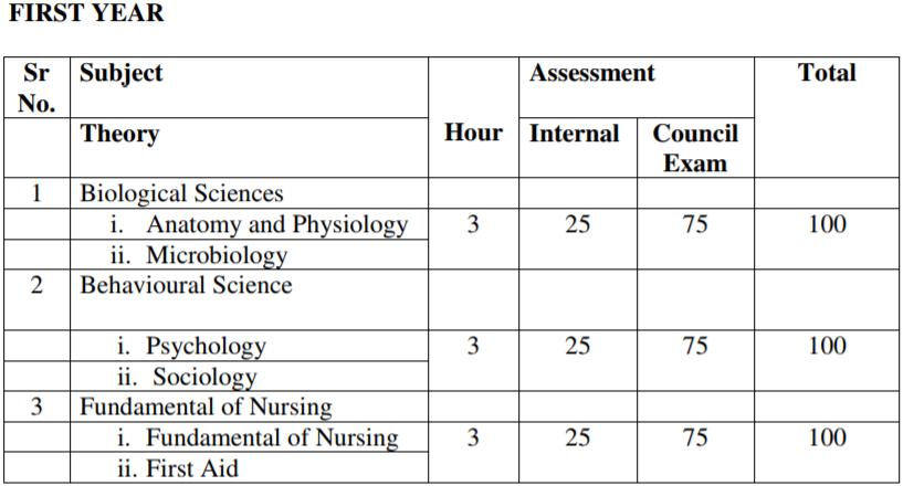 Scheme of the GNM Nursing Exam (First Semester)