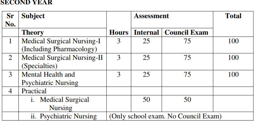 GNM 2nd Year Exam Scheme 2019