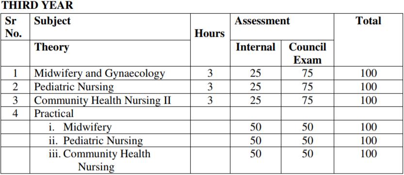 GNM Third Year Exam Scheme