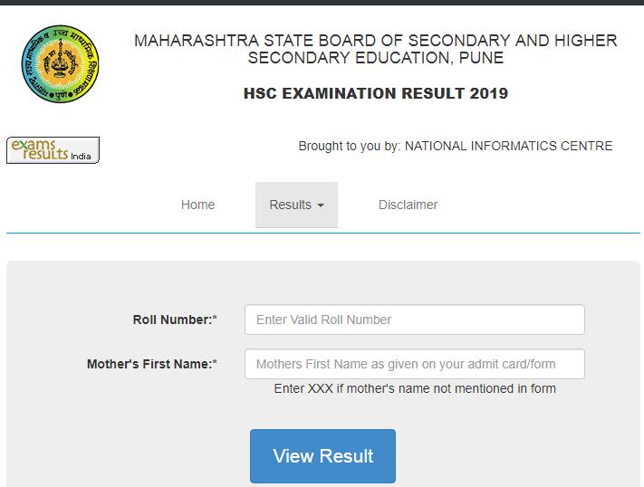 Maharashtra HSC Result 2019 login