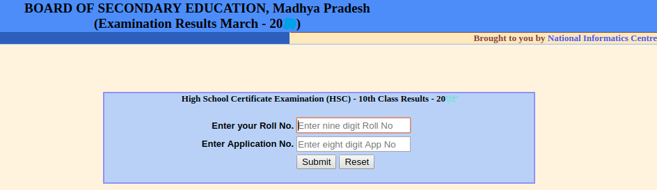 MP Board 10th Result Login Section