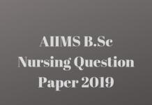 AIIMS B.Sc Nursing Question Paper 2019
