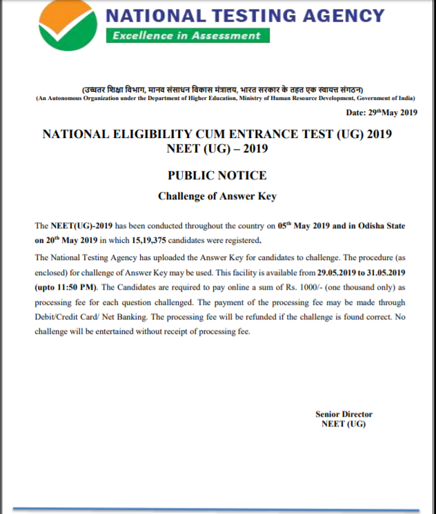NEET OMR Sheet 2019 Notice