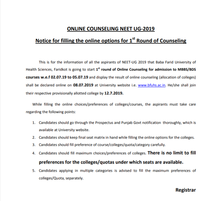 Punjab NEET MBBS Counselling 2019 Schedule