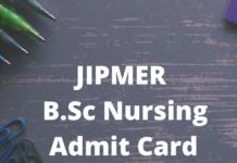 JIPMER B.Sc Nursing Admit Card