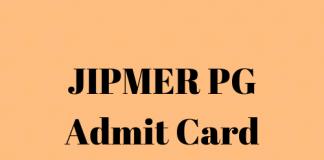 JIPMER PG Admit Card