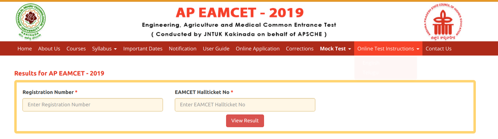 AP EAMCET 2019 Result Login