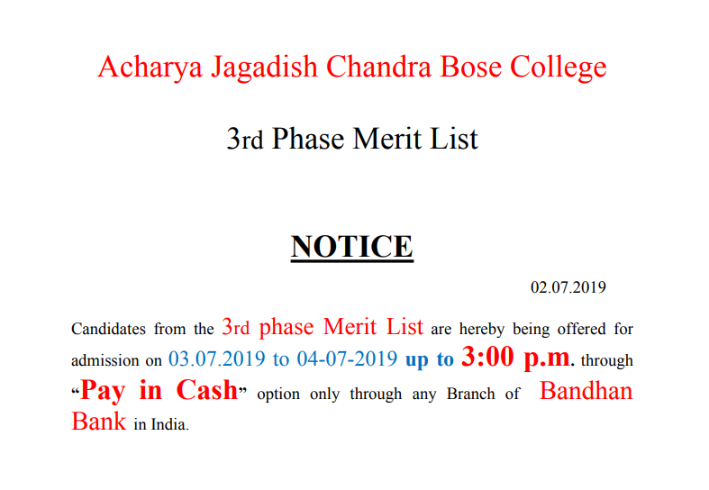 ACJB Third Phase Merit List 2019