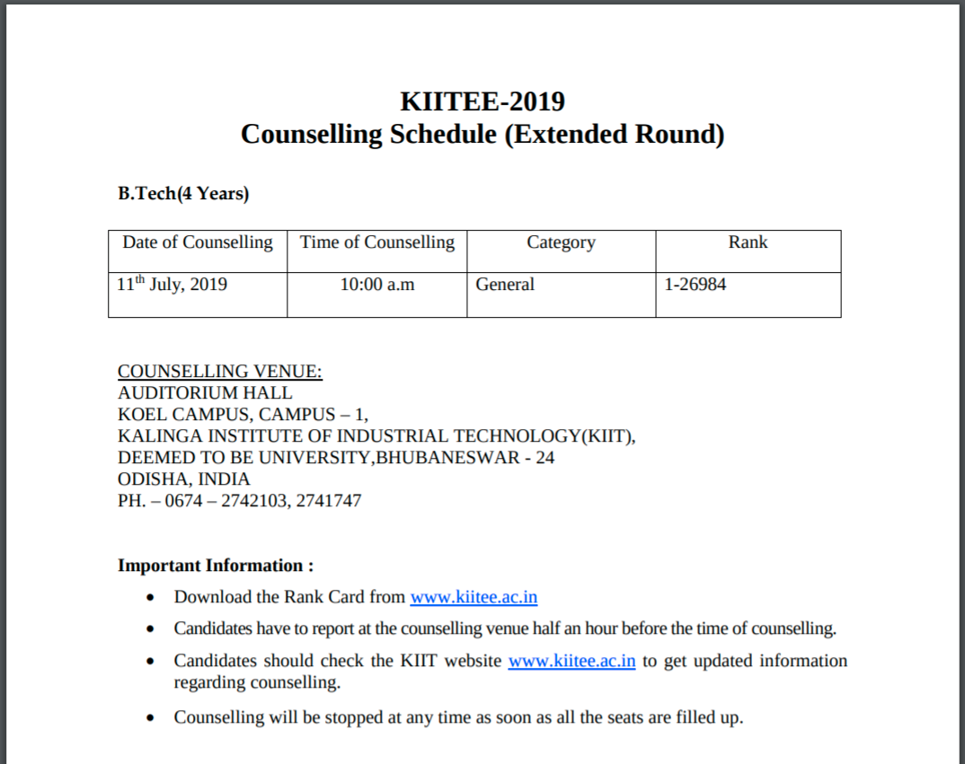 KCET Extended Counselling Schedule