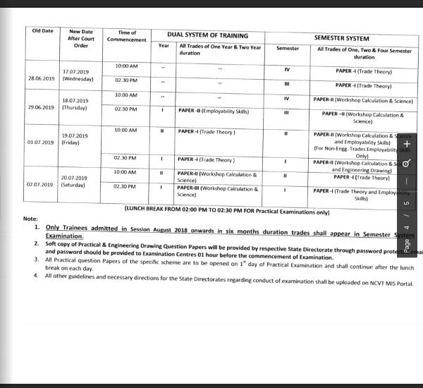 NCVT Revised schedule 2019