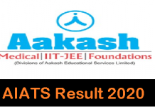 Aakash AIATS Result 2020