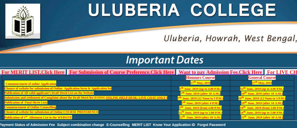 Uluberia College Admission 2019