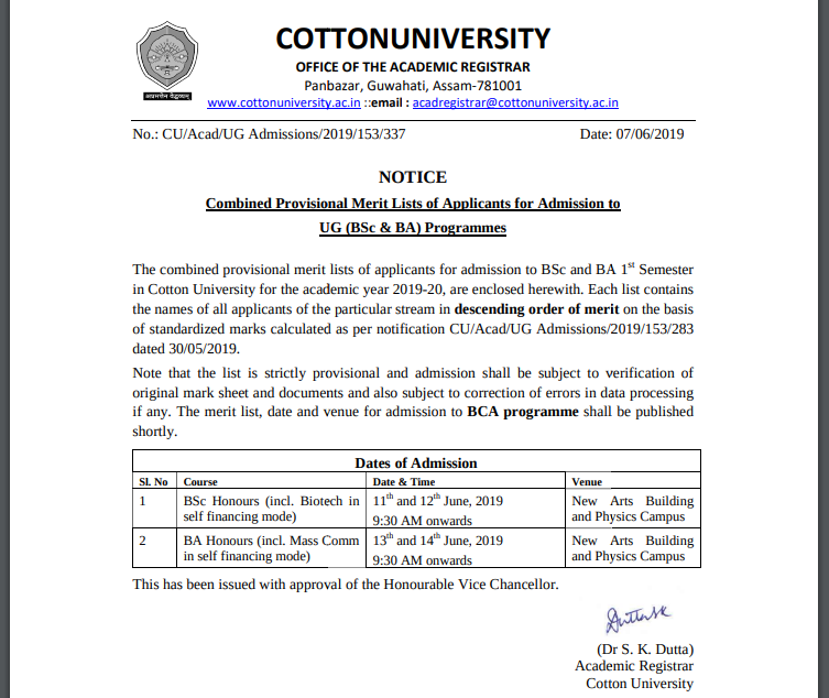 Cotton University Merit List 2019 Released: CPGEE Based
