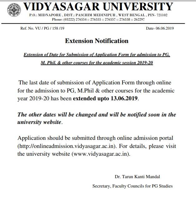 Vidyasagar University pg date