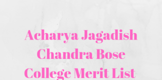 Acharya Jagadish Chandra Bose College Merit List