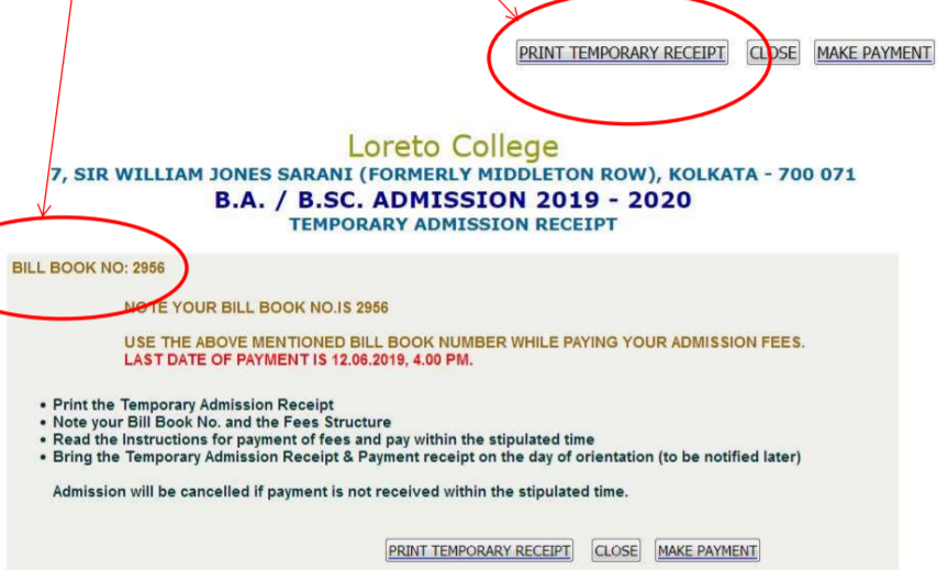 Temporary Admission Receipt of Loreto College