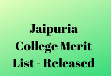 Jaipuria College Merit List - Released
