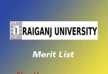Raiganj University Merit List