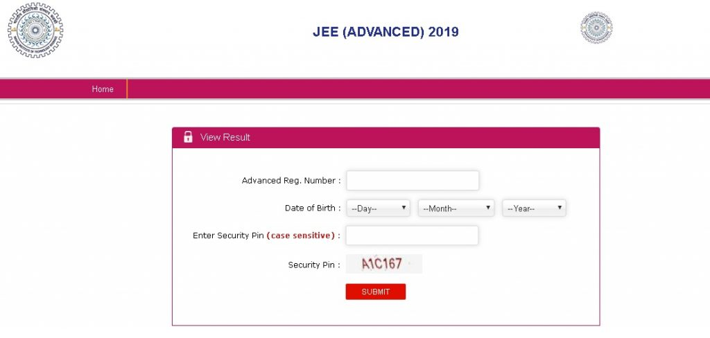 Jee advanced result 2019 screen shot