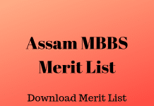 Assam MBBS Merit List