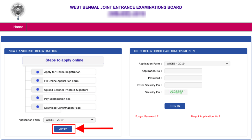 WBJEEE Registration Form