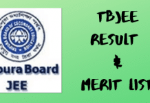 TBJEE Result and Merit List