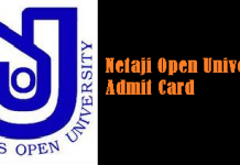 Netaji Open University Admit Card