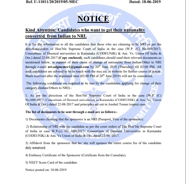NEET 2019 Counseling Notice