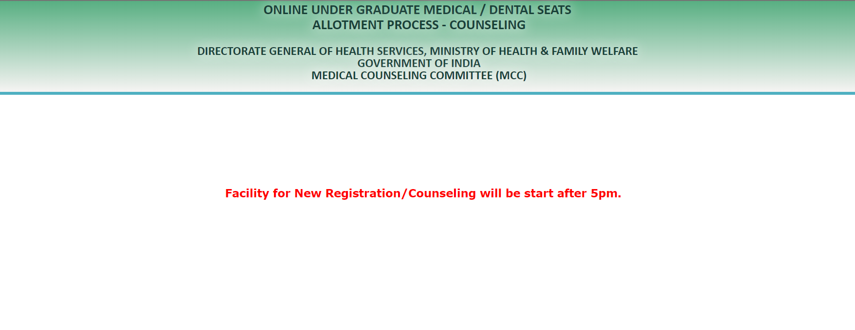 NEET 2019 Counselling Registration Schedule