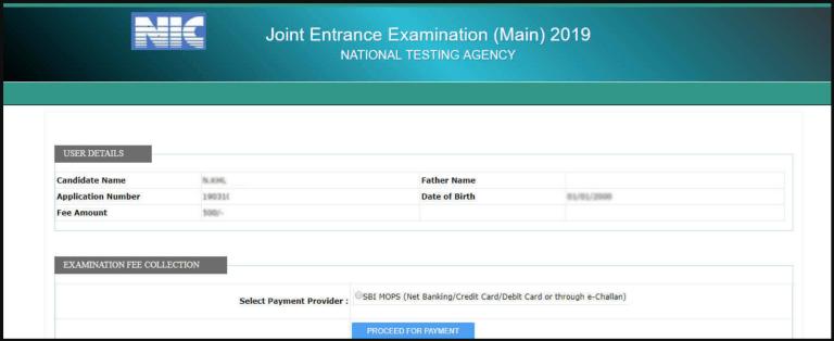 JEE Main Form Fee Payment Window