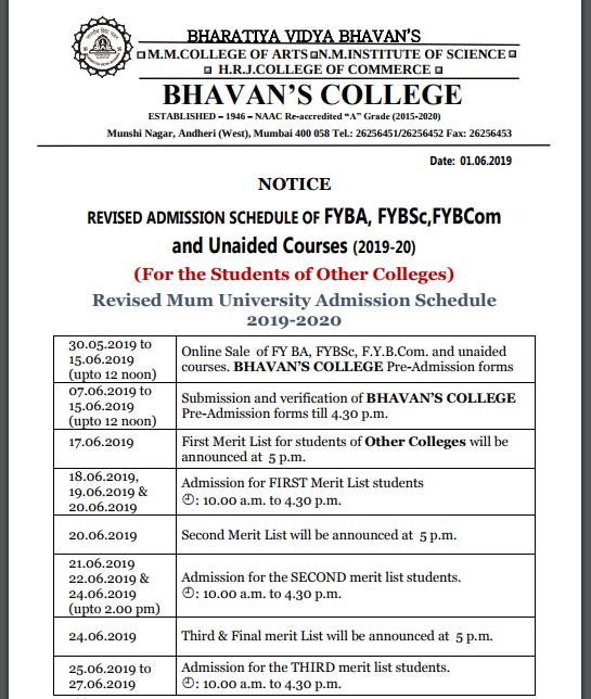 Bhavans college revised schedule 2019