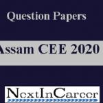 Assam CEE Question Paper 2020