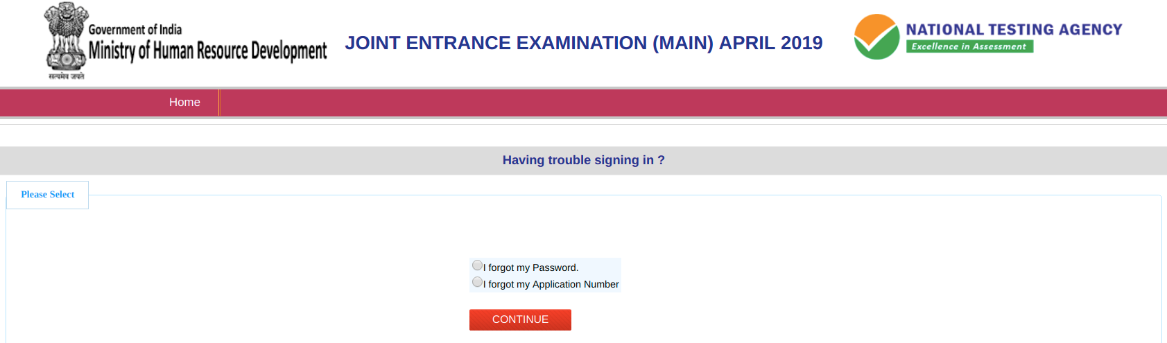 JEE Main Recover forgotten application number
