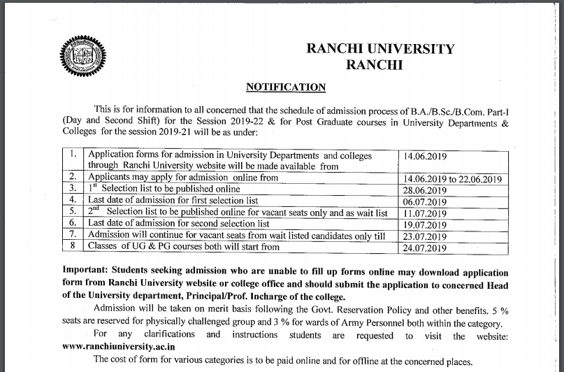 Ranchi University schedule 2019